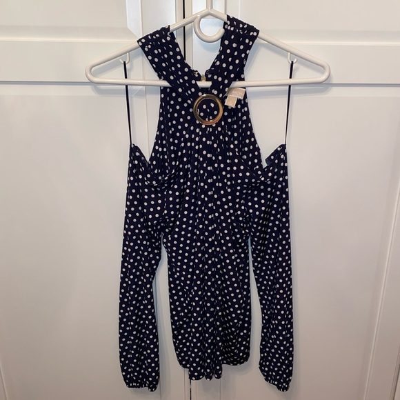 Michael Kors Blue and White Polka Dot Shirt
